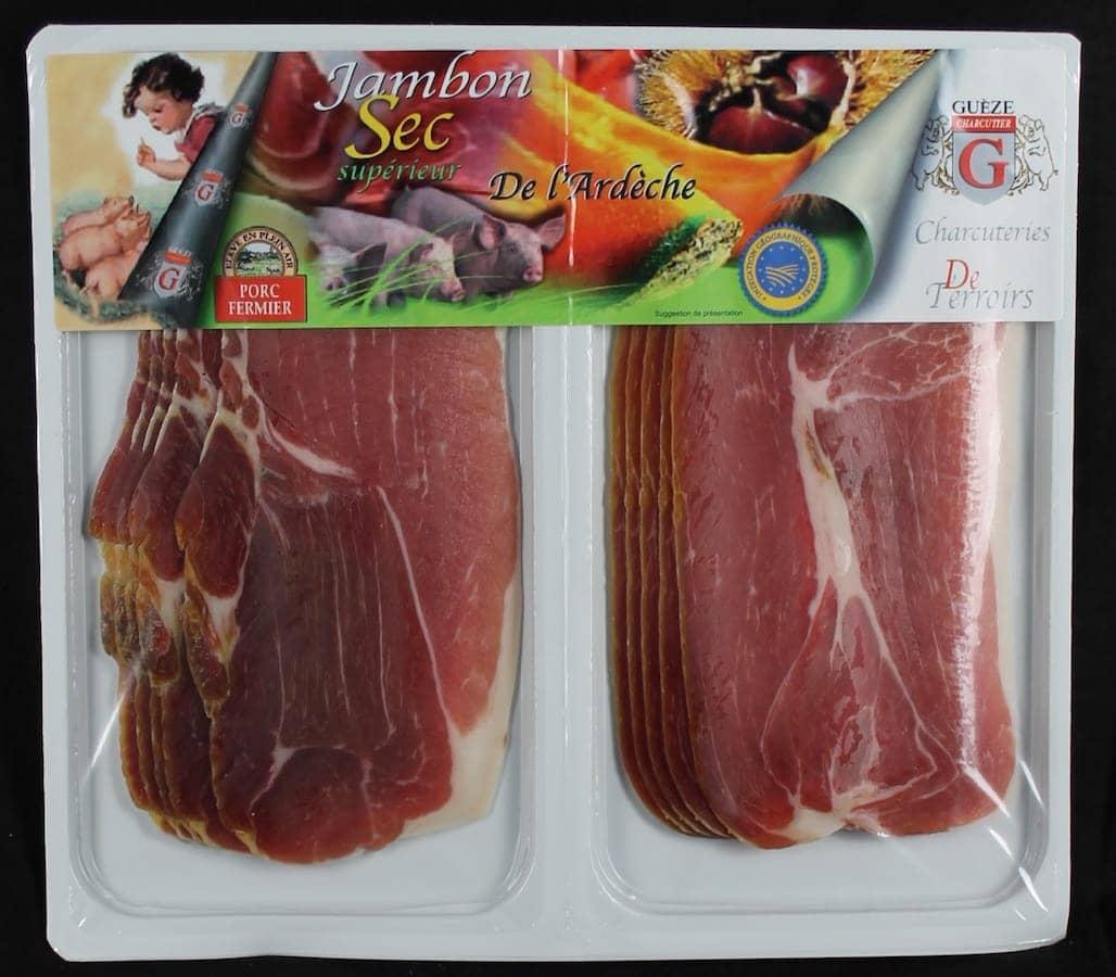 Jambon sec fermier porc élevé enéplei air - 2x5 tranches - IGP Ardèche