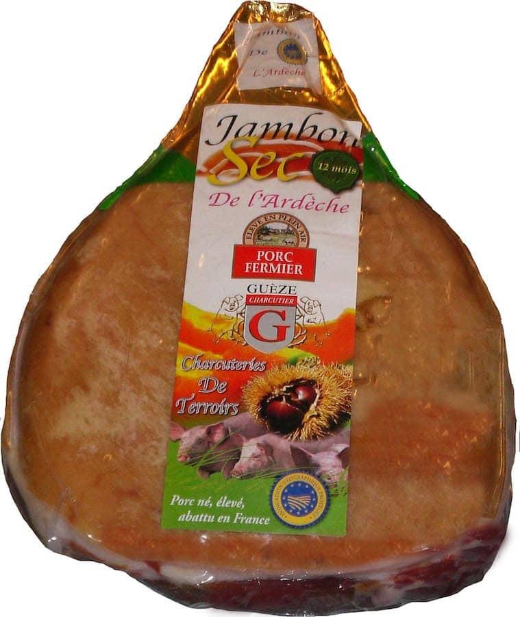 Jambon sec sans os supérieué - porc fermier élevé en plein air 12 à 18 mois - IGP Ardèche