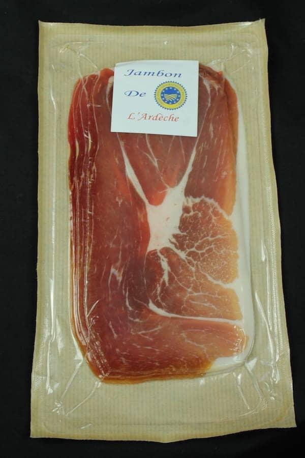 Jambon sec supérieur 4 tranches - emballsage touche papier - IGP Ardèche