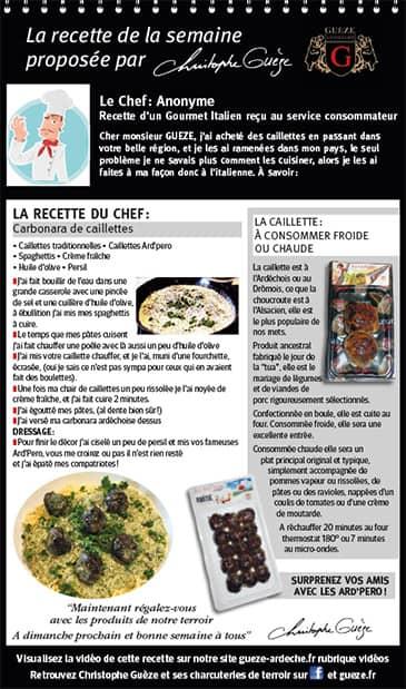 Fiche recette - Caillette à l'italienne