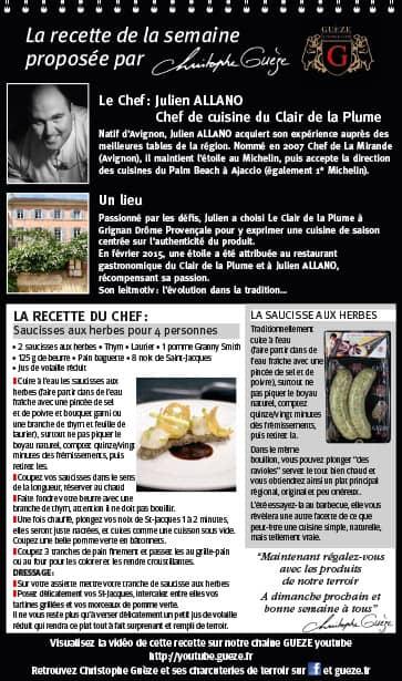 Saucisses  aux herbes - Chef Julien Allano